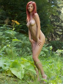 Ariel naked in the woods