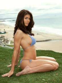 Lynda Redwine in crochet bikini