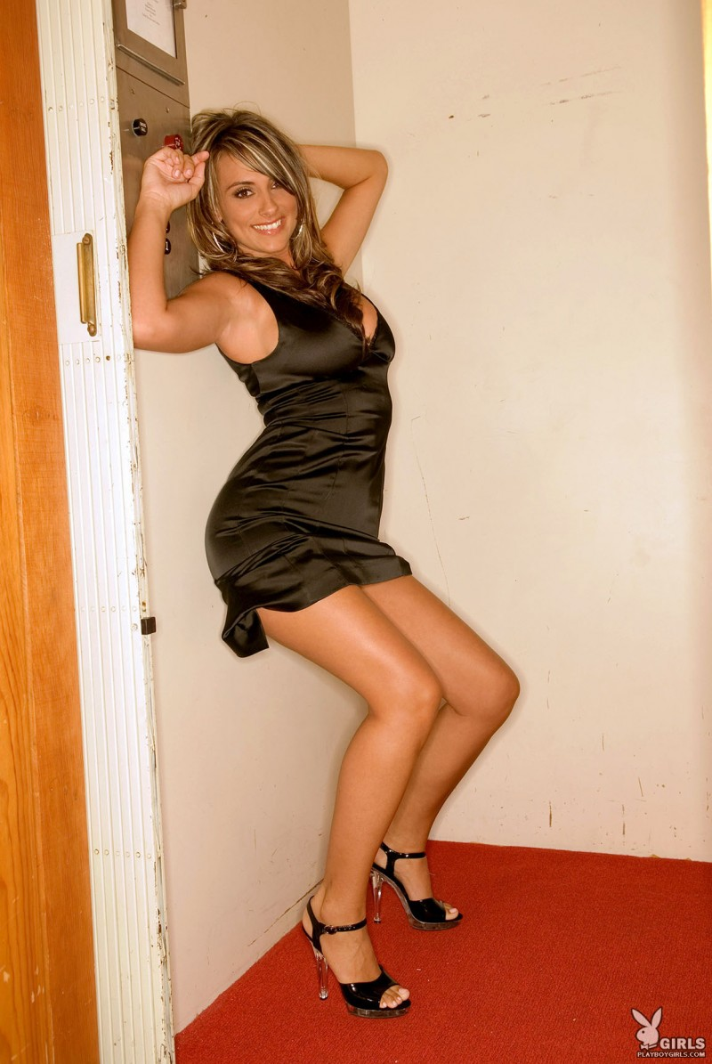 Aden Bianco in tight black dress