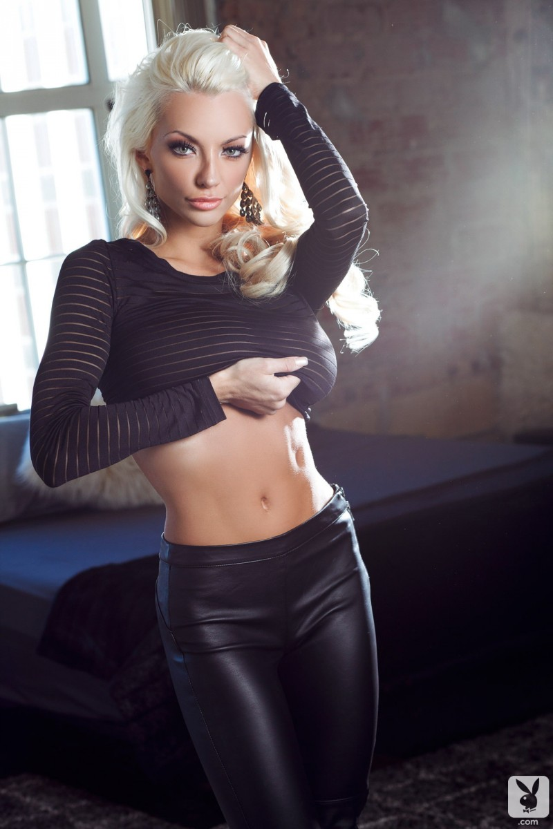 Lindsey Pelas in leather pants