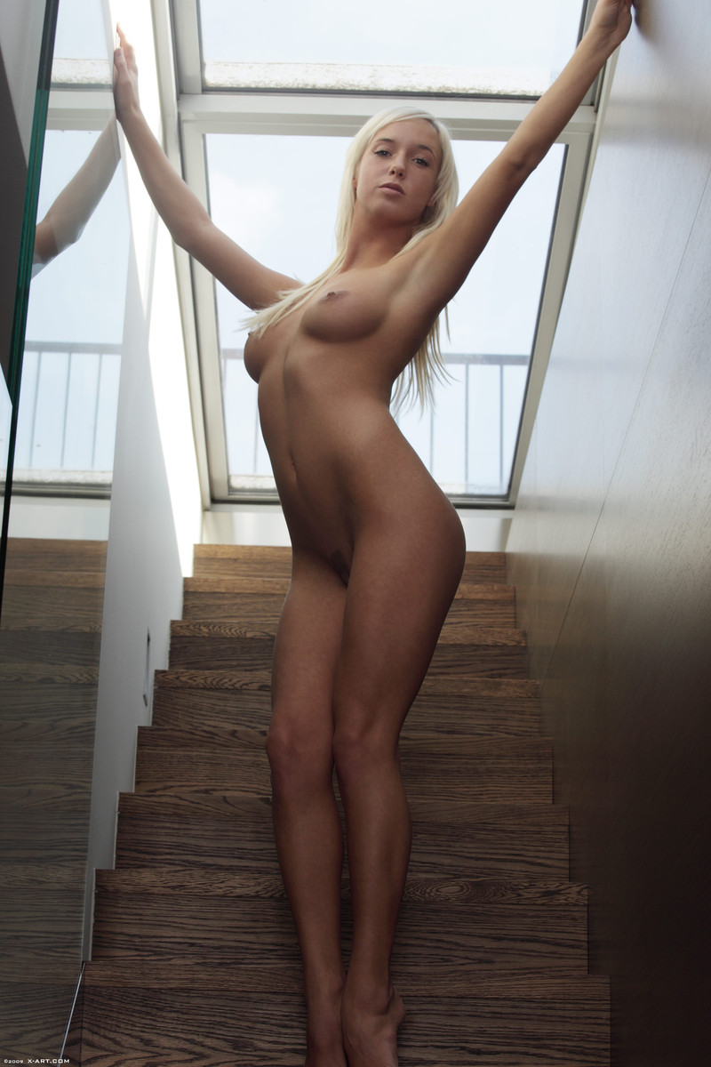 Emma on the stairs blonde Emma nude