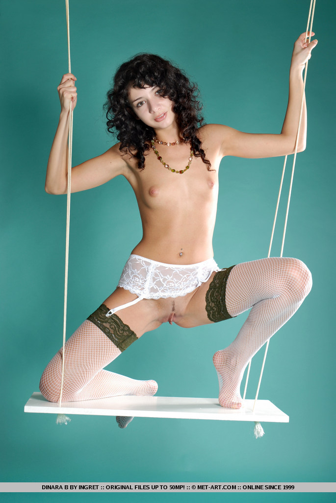Dinara on the swing brunette dinara fetish garters small tits stockings swing