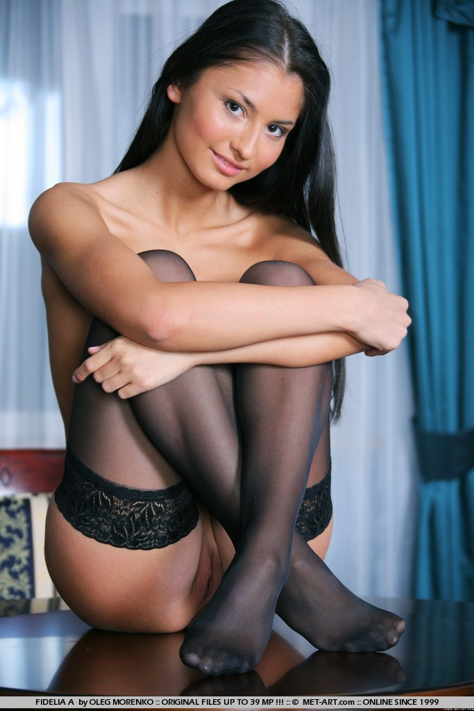 Fidelia in black stockings brunette fetish fidelia a stockings