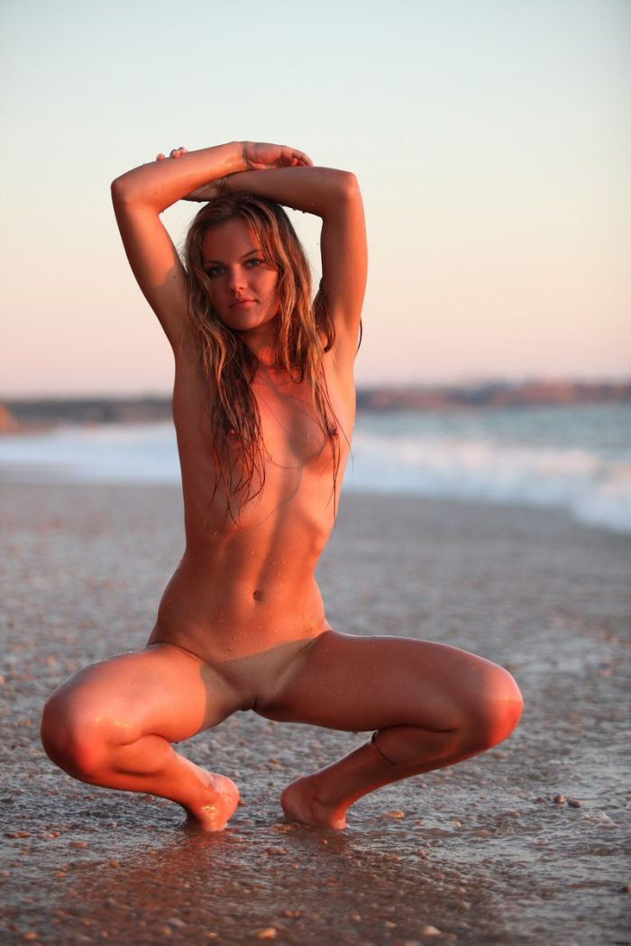 Naked on the beach beach blonde