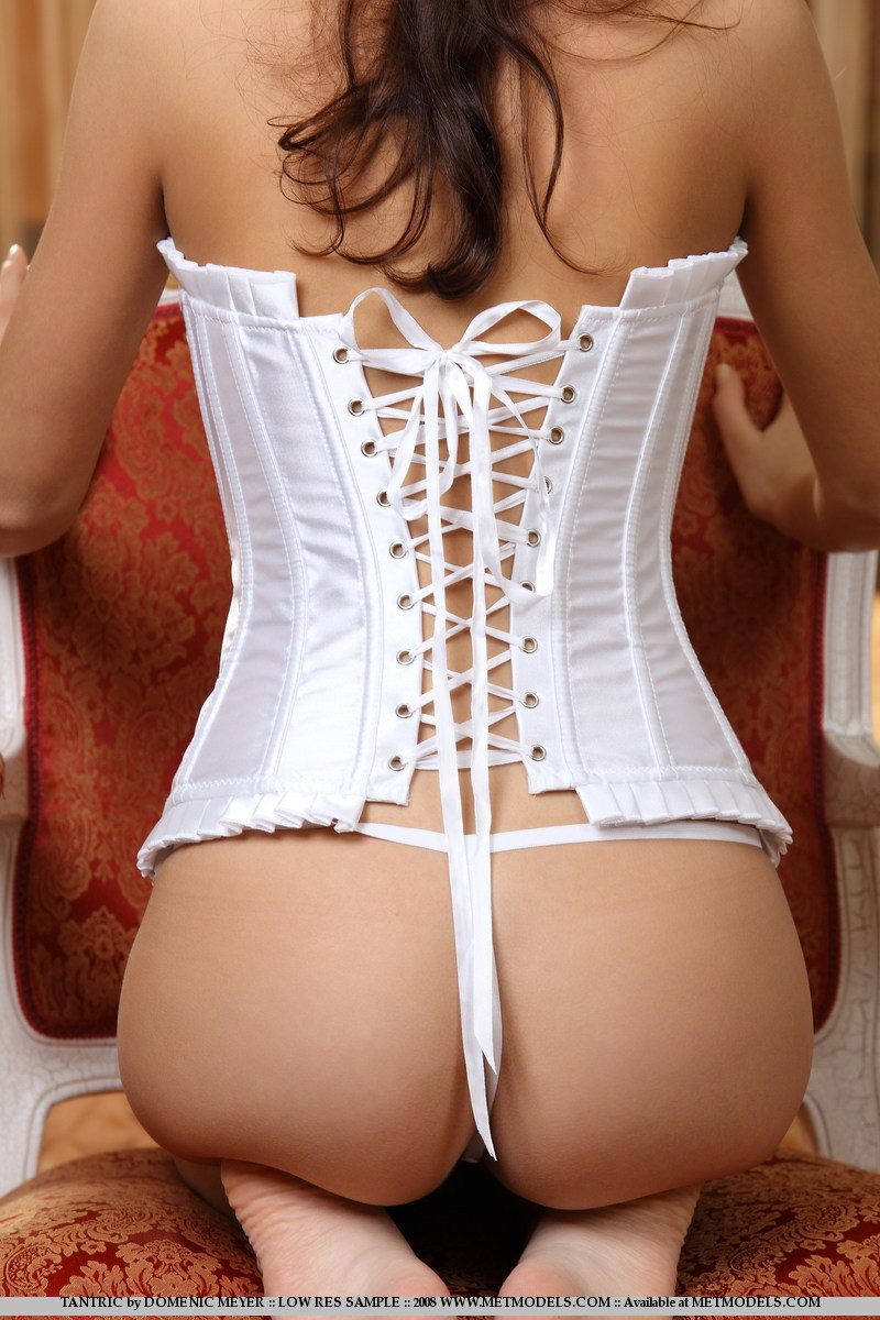 Emilie in white corset corset emilie small tits Young girls