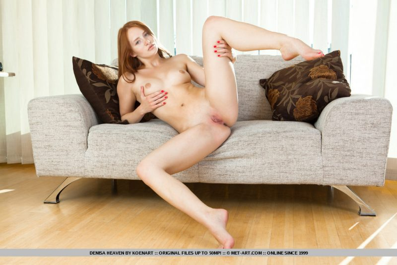 Denisa on the sofa couch Denisa Pretty Ladies redhead