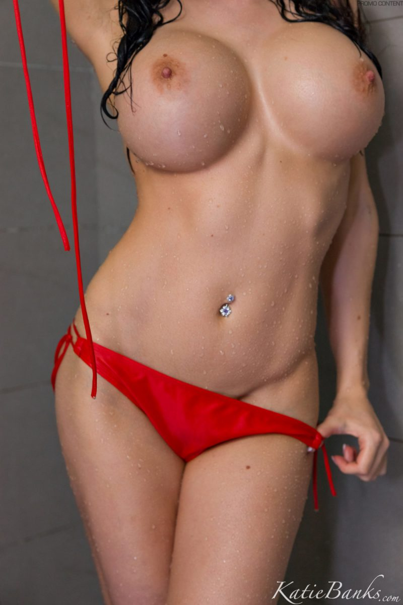 Katie Banks – Shower in red bikini big boobs bikini boobs katie banks shower xxl