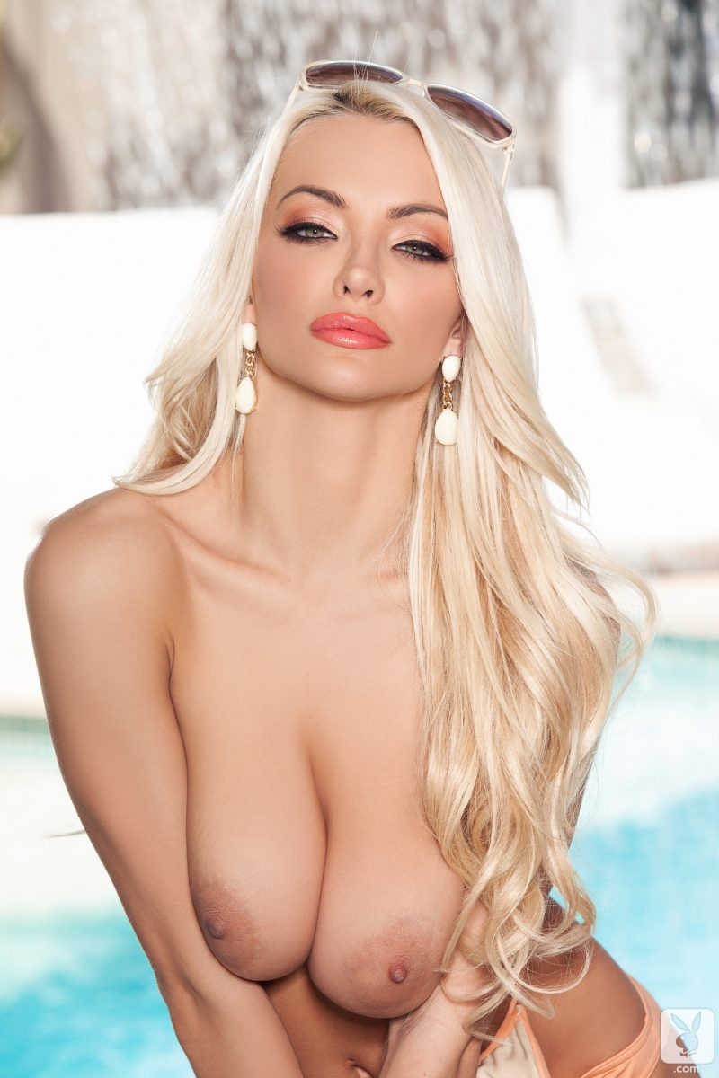 Lindsey Pelas by the pool blonde boobs Lindsey Pelas playboy pool Super Chicks