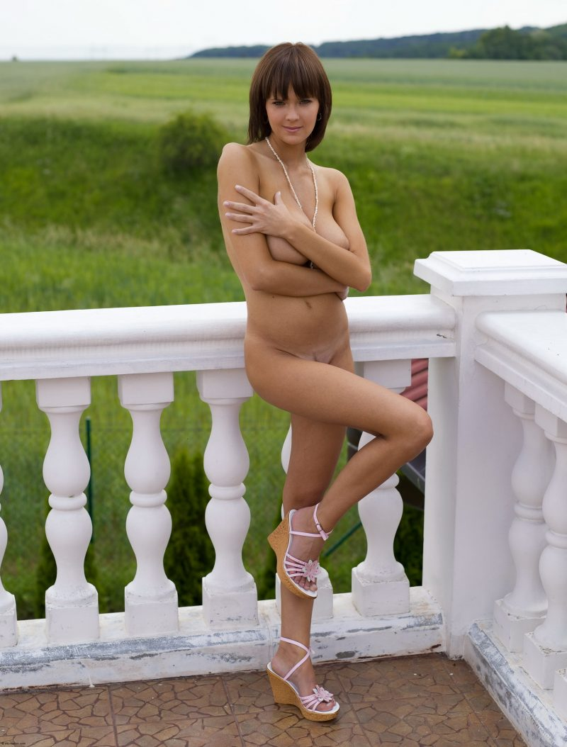 Gabrielle naked on balcony