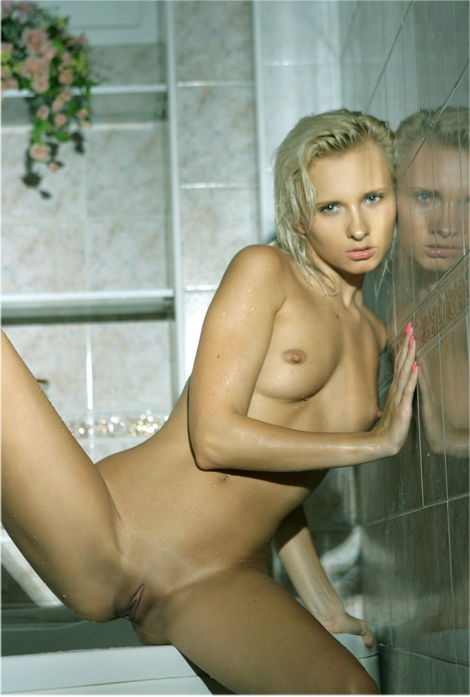 Blonde in bathroom bathroom blonde wet