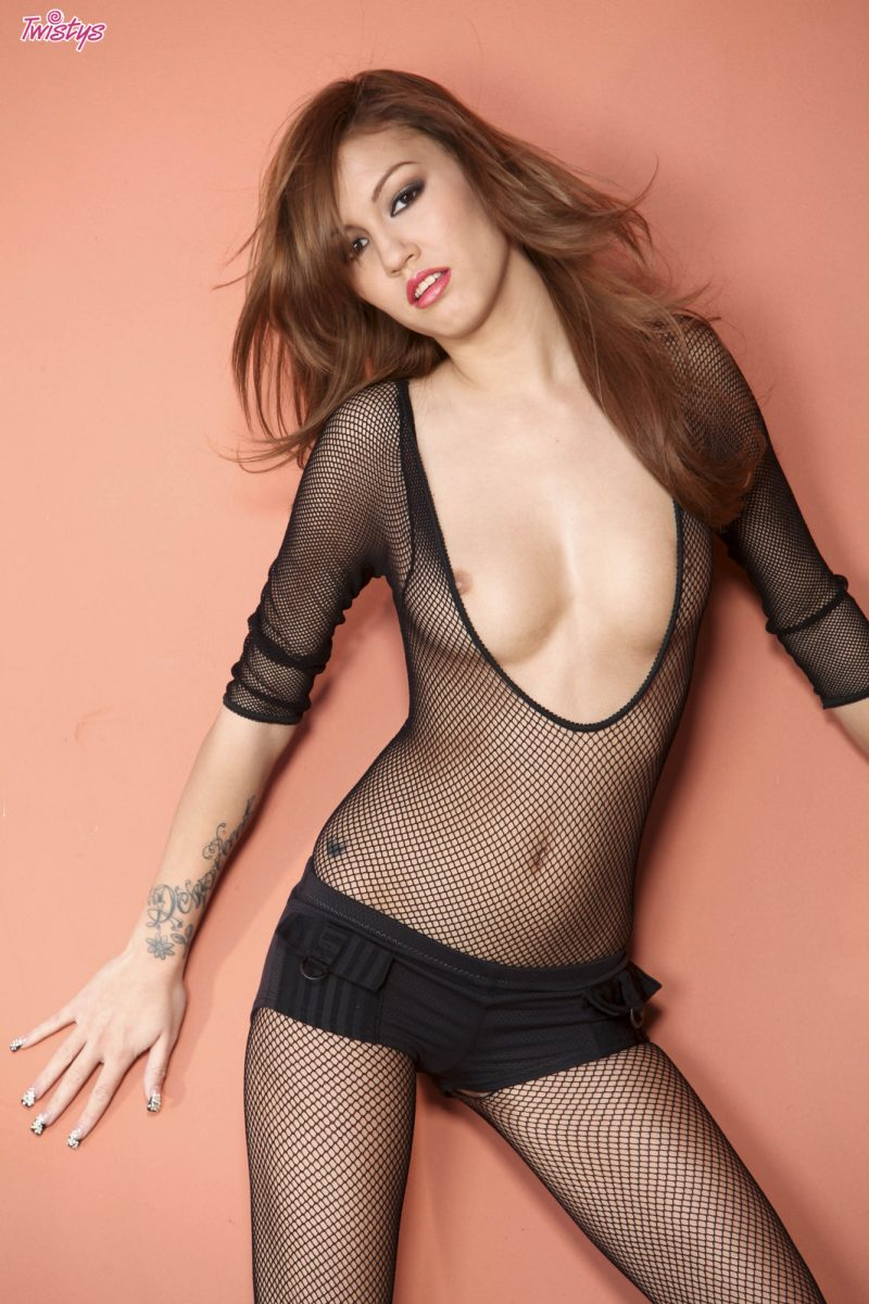 Kimberly Kato in bodystocking