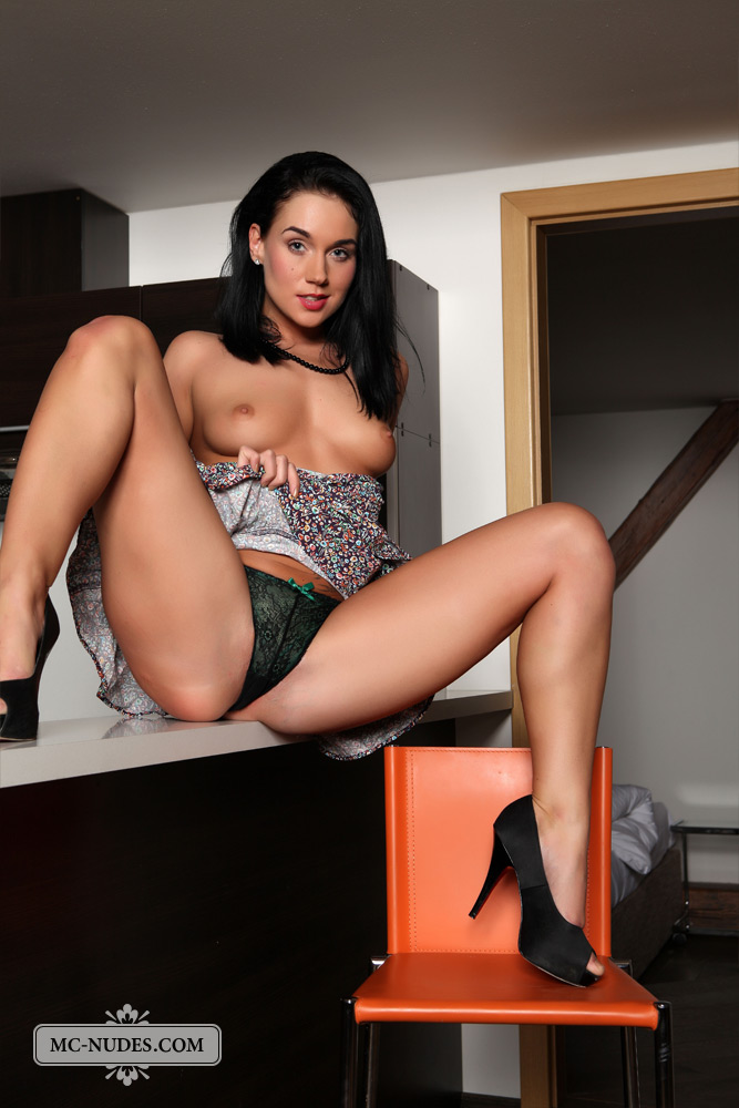 Katy on the kitchen countertop brunette high heels Katy kety pearl kitchen Pretty Ladies