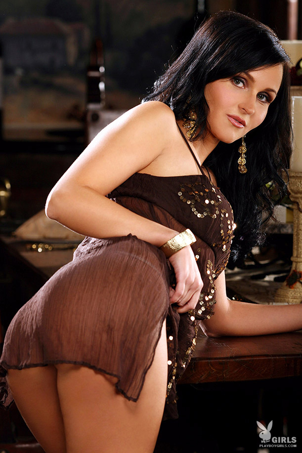 Victoria Ivanova in brown dress big tits brunette dress Victoria Ivanova