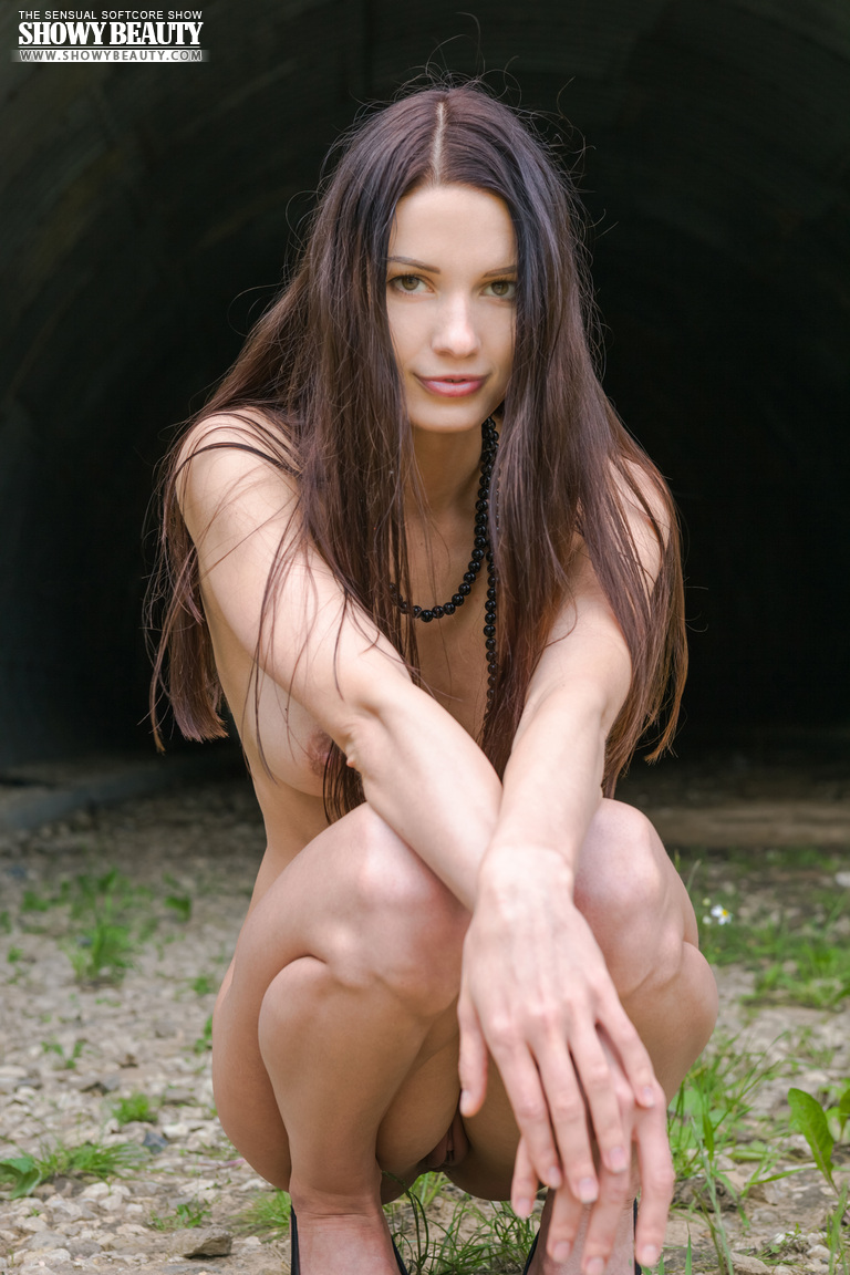 Natali in the tunnel long hair natali Pretty Ladies skinny