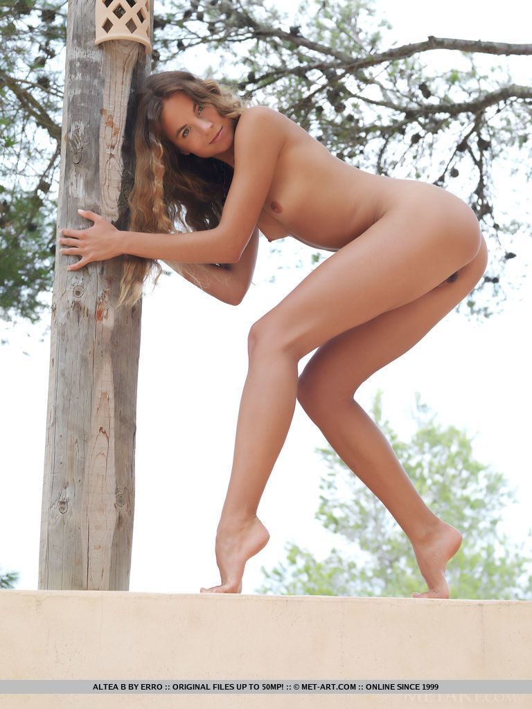 Altea naked on the terrace Altea antea Pretty Ladies small tits