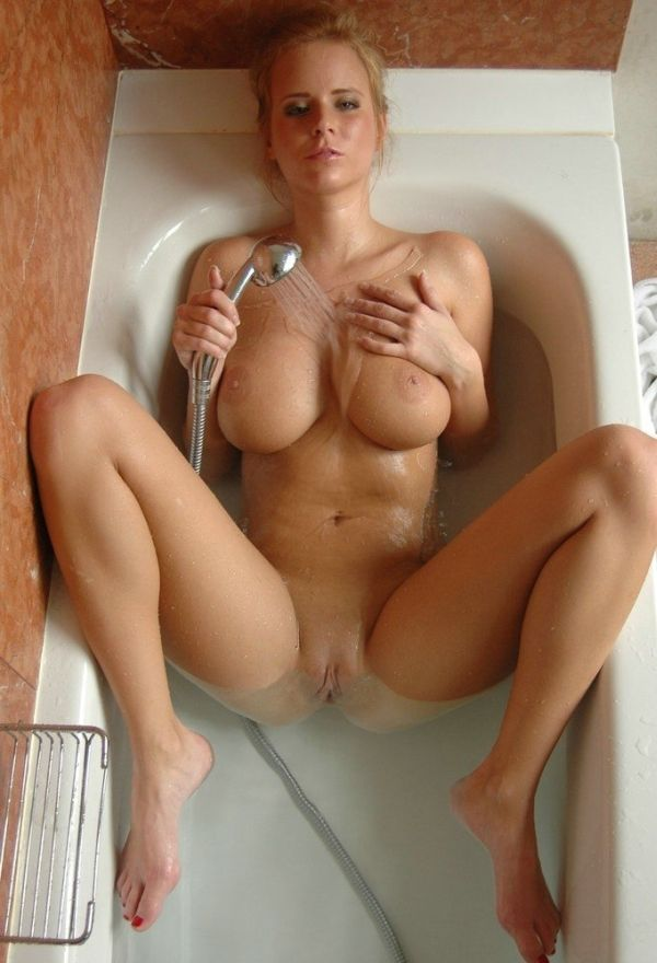 Big tits blonde in bathroom
