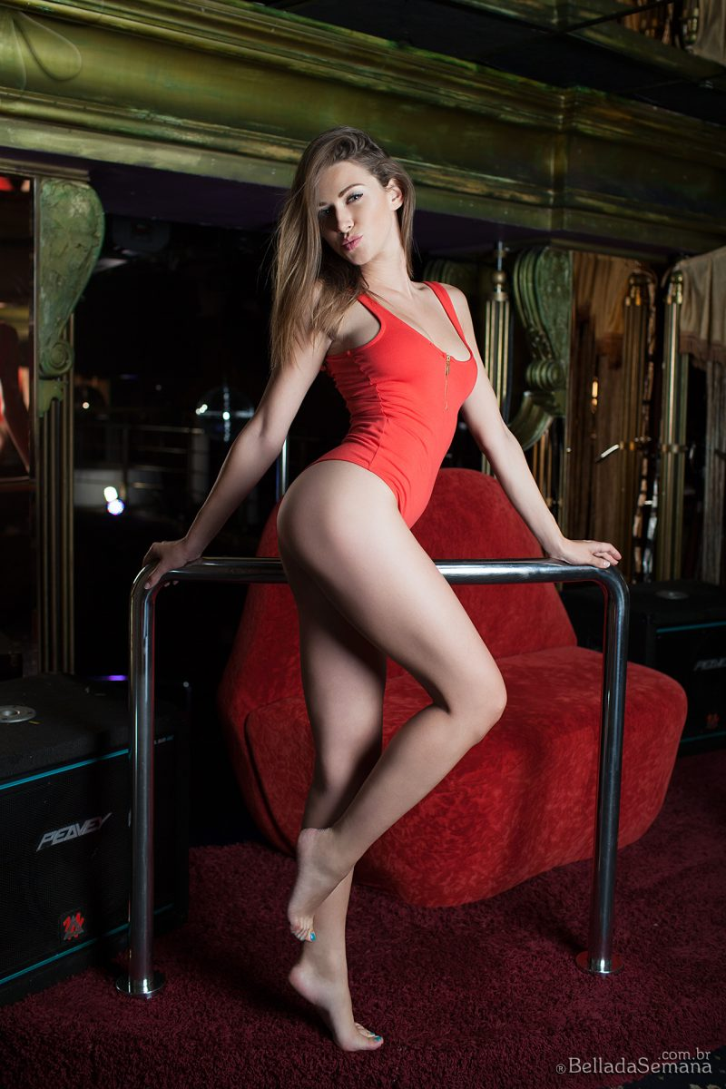 Olga Alberti in red bodysuit