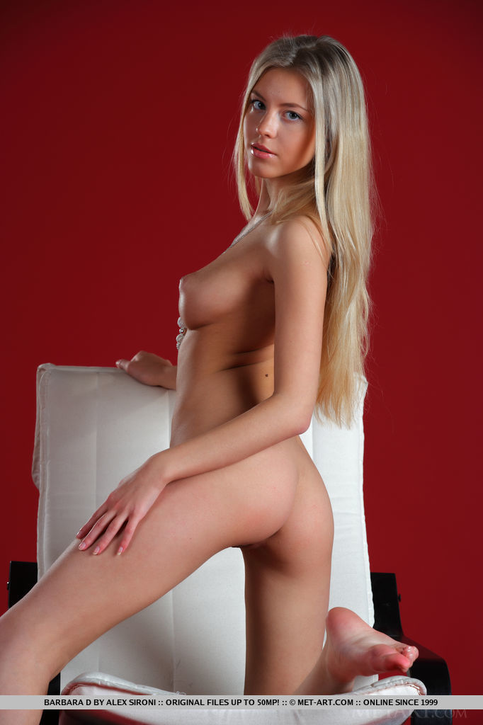 Barbara D sitting nude on the armchair armchair barbara d blonde Young girls