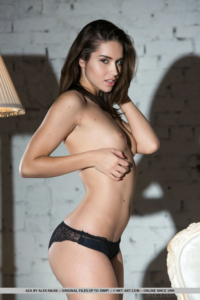 Aza in black lingerie aza small tits Young girls
