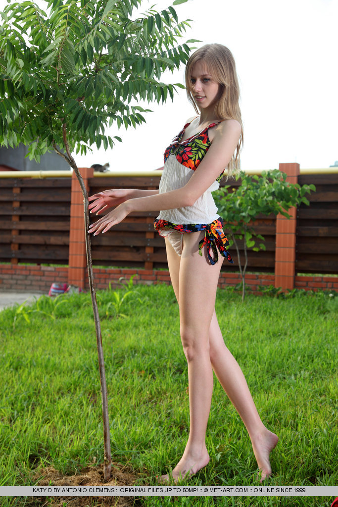 Katy in the backyard garden katy d skinny Young girls