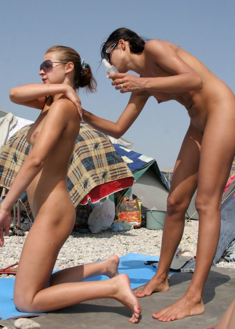 Two nudist girlfriends on the beach amateur beach Beach & Bikini seaside