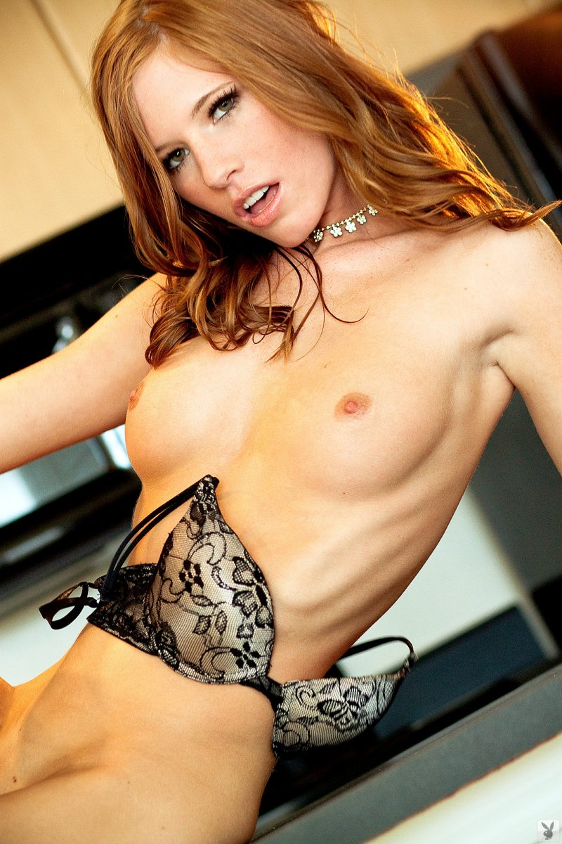 Bree Morgan on kitchen countertop Bree Morgan bree roxx kitchen playboy redhead Super Chicks