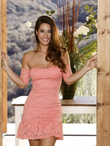 Eva Lovia in pink dress