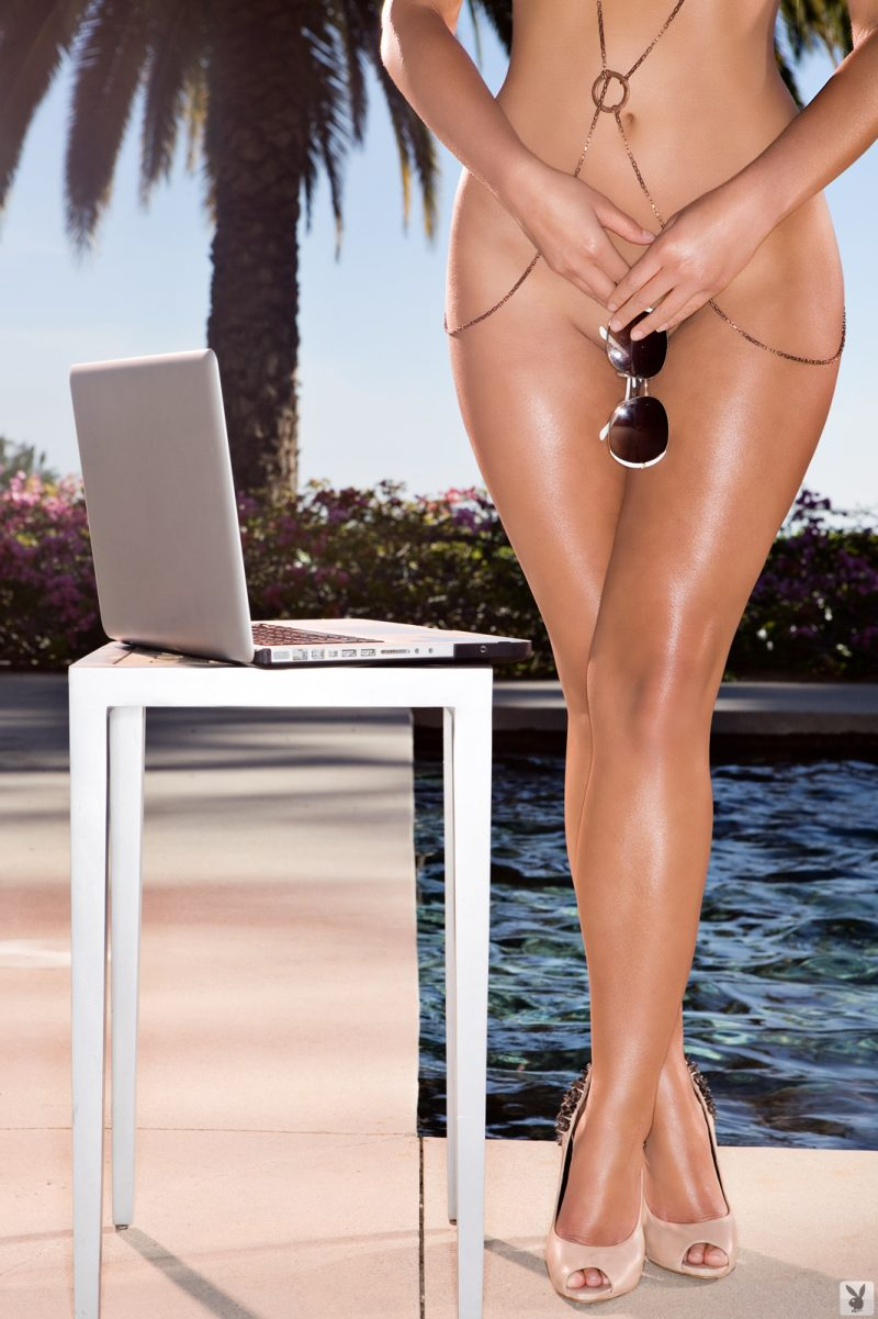 Tierra Lee by the pool playboy pool sunglasses Super Chicks Tierra Lee