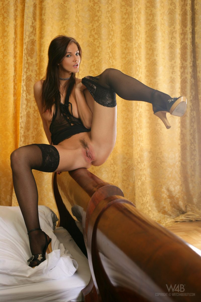 Ivette Blanche in black stockings fetish Ivette Blanche stockings