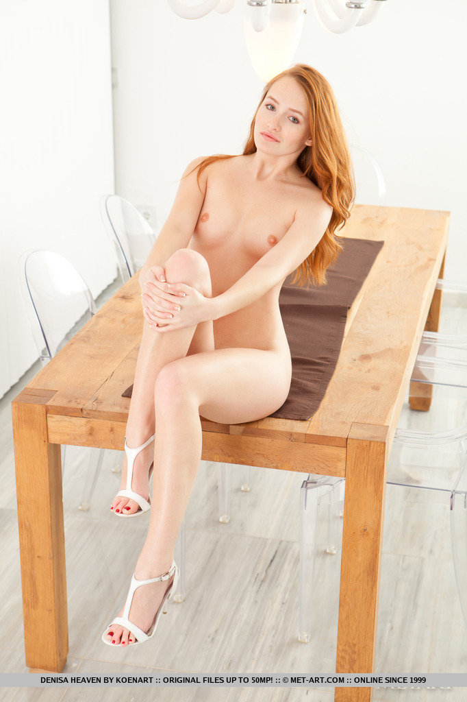 Denisa nude on table Denisa Pretty Ladies redhead table