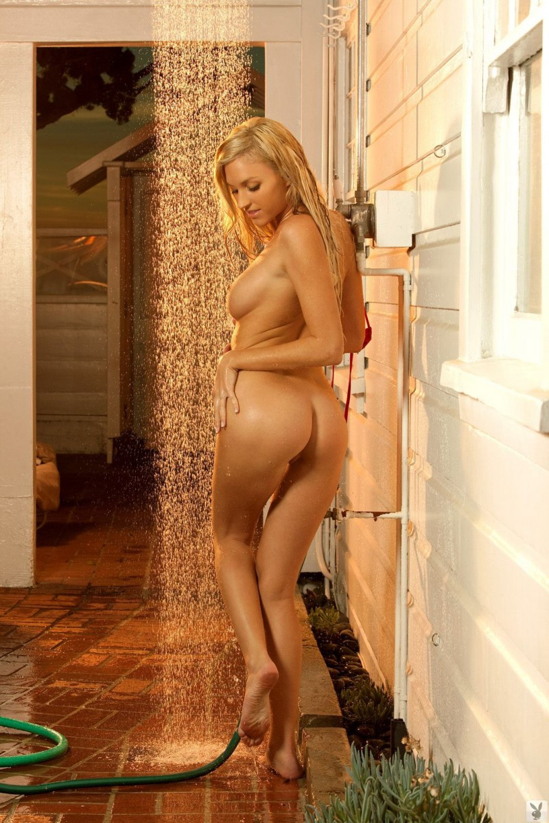 Kathe Hughes in the shower bikini blonde Kathe Hughes playboy shower