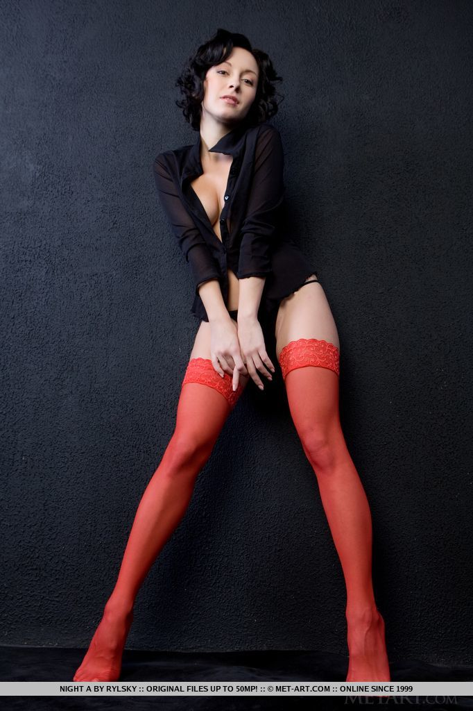 Agatha Guess in red stockings
