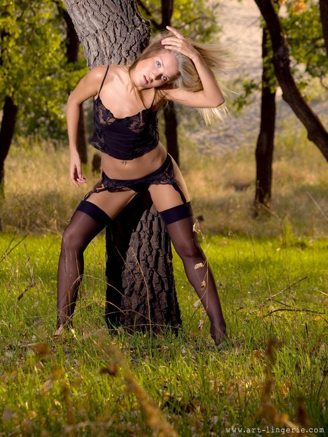 Blonde in forest