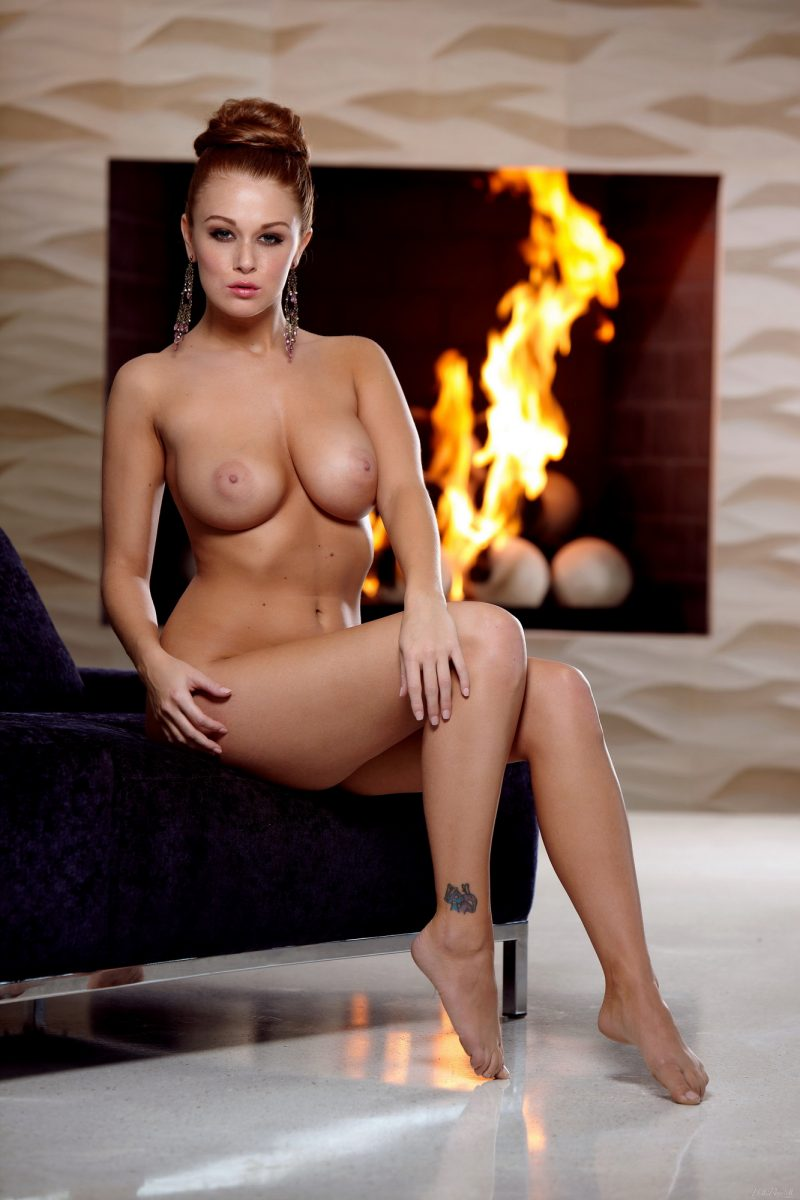 Leanna Decker by the fireplace big boobs boobs fireplace Leanna Decker redhead