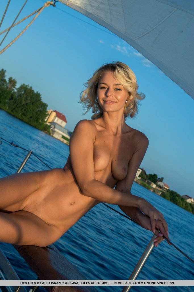 Nonna – Naked sailing blonde Nonna Pretty Ladies skinny yacht