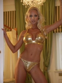 Victoria Cruz in golden bikini
