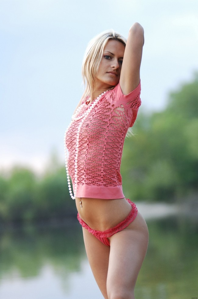 Blonde in pink