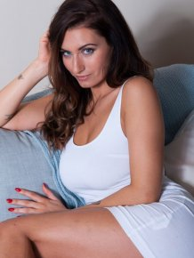 Sammy Braddy in white dress