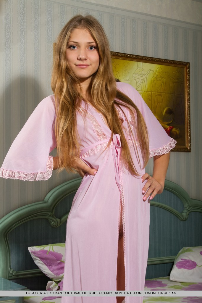 Lola C in pink nightgown