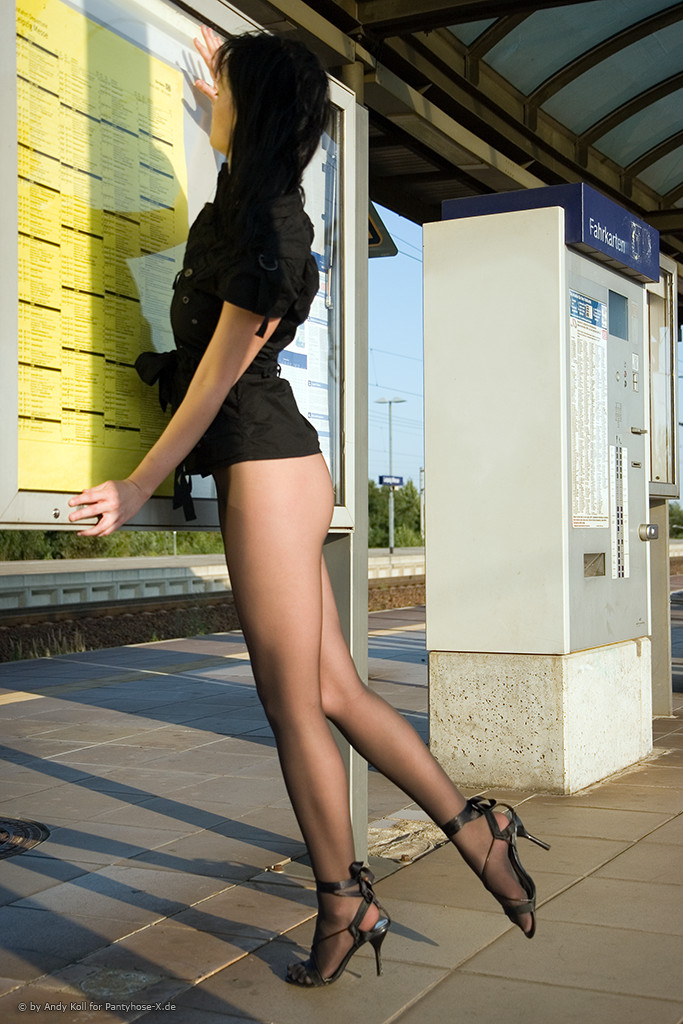 Anni at the railway station anni fetish nude Nude in Public pantyhose public railways