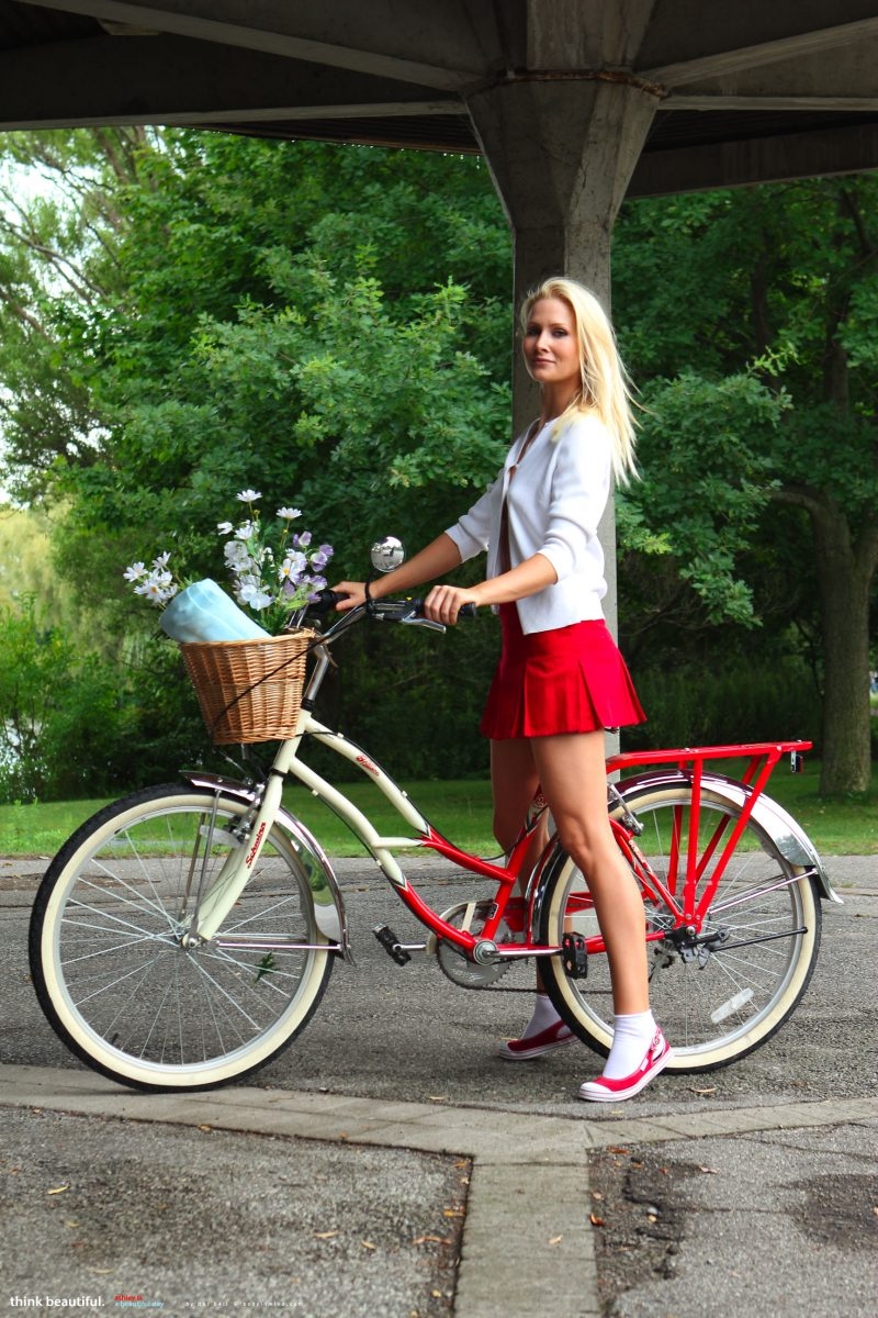 Ashley Perry riding a bike