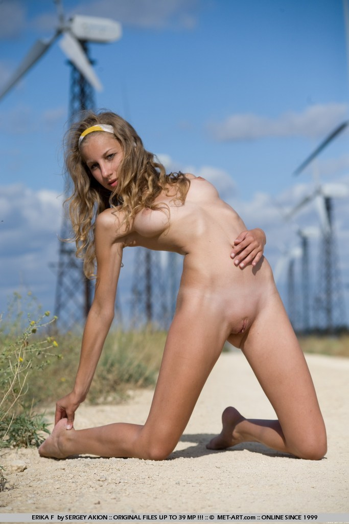 Erika nude on the wind farm