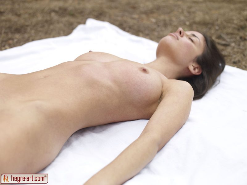 Muriel naked in the forest