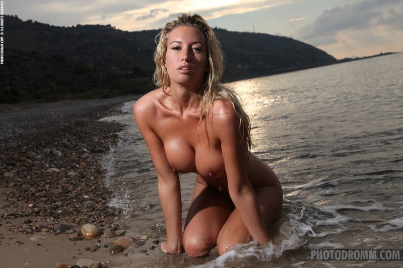 Janine Leech by the sea beach Beach & Bikini bikini blonde boobs janine leech seaside