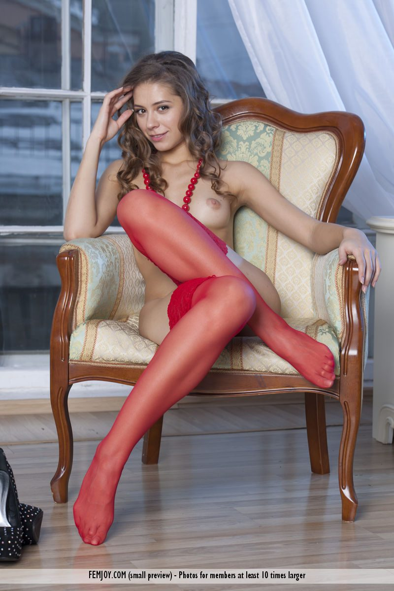Olya Fey in red stockings fetish olya fey stockings
