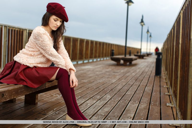 Serena Wood – Girl in a beret knee socks Pretty Ladies serena wood