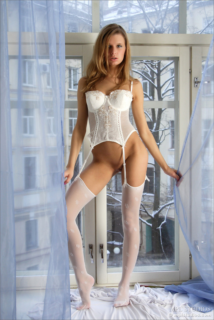 Katia in white stockings