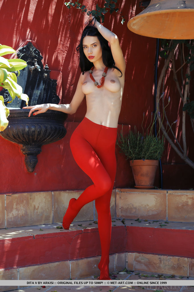 Dita in red tights