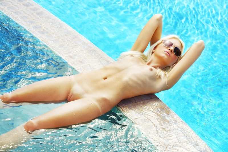 Franziska Facella wearing sunglasses at pool blonde Franziska Facella pool skinny small tits sunglasses Young girls