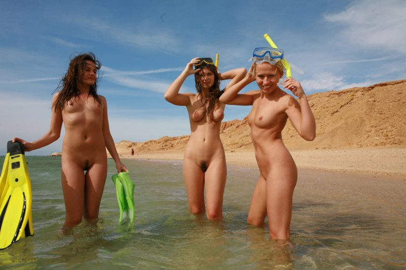 Three nudist divers Beach & Bikini diver diving naturism nudism nudists seaside three